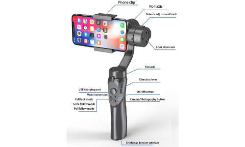 Mobile phone stabilizer, anti-shake video, three-axis selfie stick, VLOG smart camera