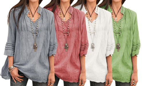 NEW-V Neck Tonic Style Top