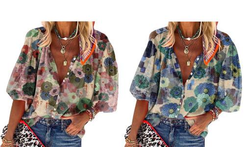 NEW-Ladies' Tops Lapel Collar Printed Long Sleeves