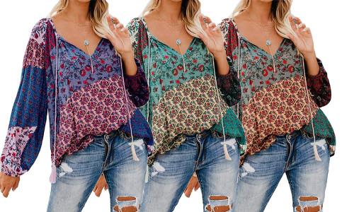 NEW-Floral print big V-neck long-sleeved pullover-LA