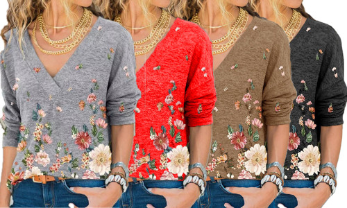 NEW-V-neck pullover print long-sleeved top-LA