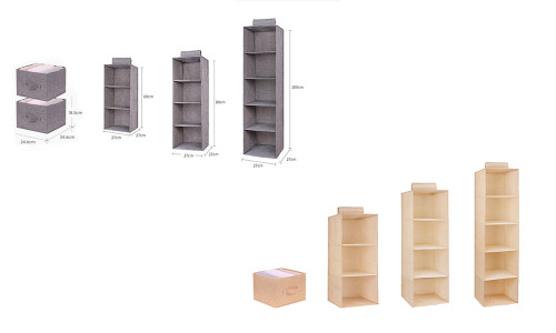 NEW-3/4/5 Layers Clothes Hanging Wardrobe Closet Organizer Portable Clothes Wardrobe Cabinet Hanger-A