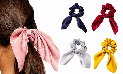 Pack of 2 Solid Colour Satin Scrunchies