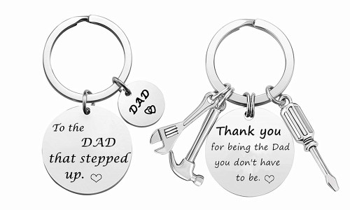 New-2021 Father's Day Engraved Keychain for step father