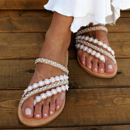 Lace and Bead Detailed Stappy Flipflops