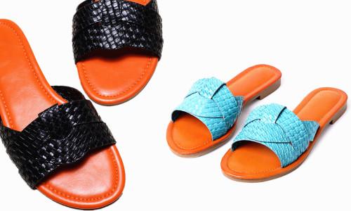 Open Toe Bradied flat sandals