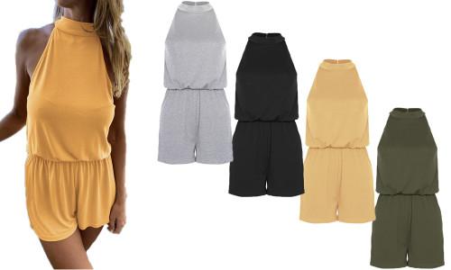 NEW- Halter strapless split open back button jumpsuit-LA