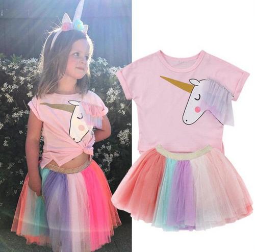 Unicorn 2pcs T shirt and skirt -LA