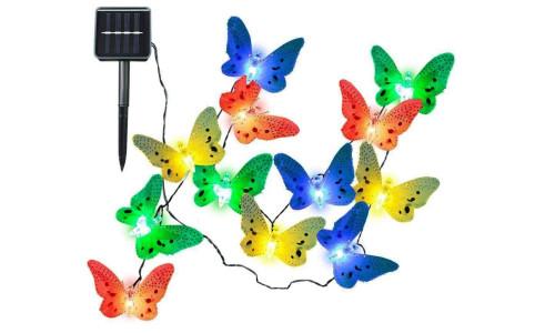 New-12 /20 LED Solar Powered Butterfly Dragonfly Light Fibre Optic Garden Outdoor String