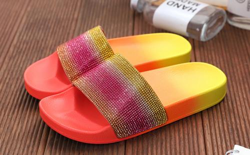 Rhinestone  Gradient colour Flat Sandals