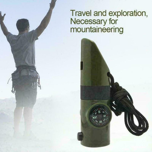 7in1 Fulti-function  Survival Whistle with flash light