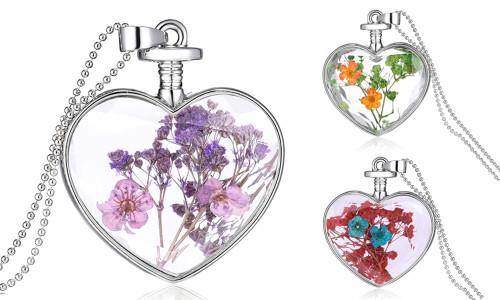 Heart  GENUINE PRESSED FLOWER pendant necklace