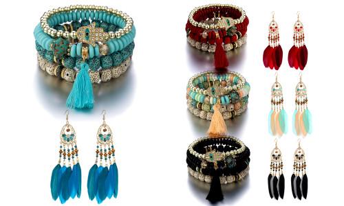 Bohemia bracelet with boho  feather earring set-QA