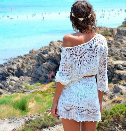 Women's Cover Up Beach Dress Swimsuit Hollow Out Knitted Sexy Swimwear Bathing Suits New Casual Vacation dress-qa