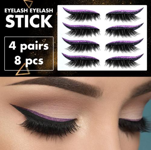 3D Self adhesive Eyelashes with coloured Eyeliner(4 Pairs)-la