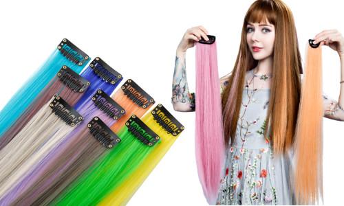 2x  Clip In Highlight Streaks Festival Long Hair Extensions LA