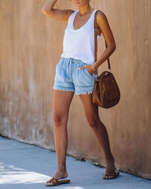 NEW-High waist short pants plus size summer jeans0015-LA