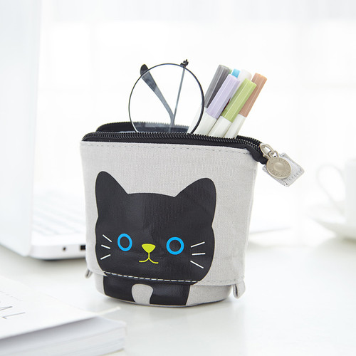 NEW-Cute Cartoon Cat Stand up Pencil & Pen Case Box Pouch0023-LA