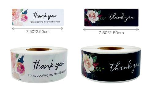 Large Thank you label flower print rectangle labels -LA