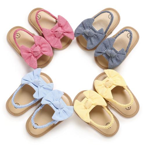 NEW-sandals bow knot cute soft sole flat princess shoes0024-LA