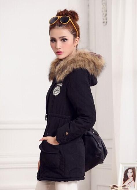 Womens Luxurious Fur Lined Parka Coat