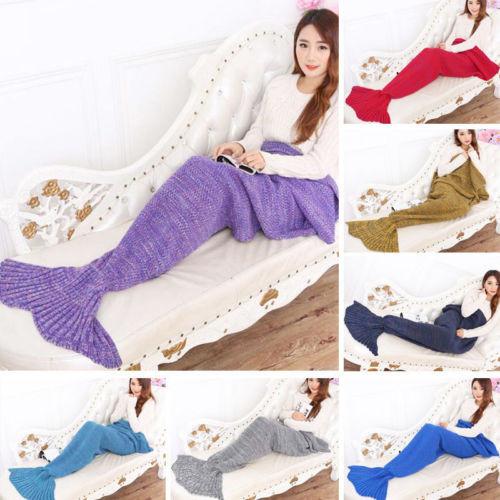 Super Soft Hand Crocheted Mermaid Tail Blanket Sofa Blanket
