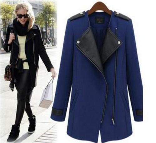 new windbreaker zipper stitching Slim Long woolen coat women windbreaker jacket