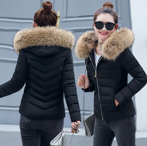 Woman winter warm Faux Fur parka hooded jacket