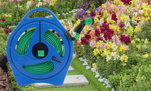 50ft FLAT HOSE PIPE & REEL WITH SPRAY NOZZLE GUN