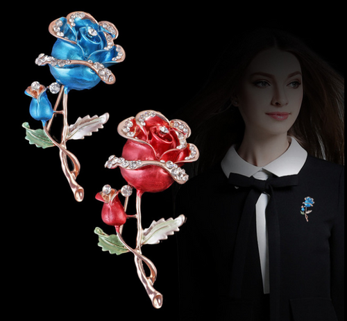 Gold Plated Rose Brooch