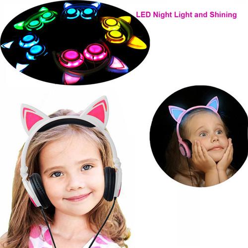 Super cute kids cat ear glow headphones