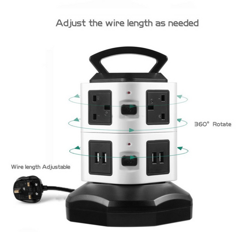 2layer 7way 2USB Power Tower Charging Station 360 degree rotate