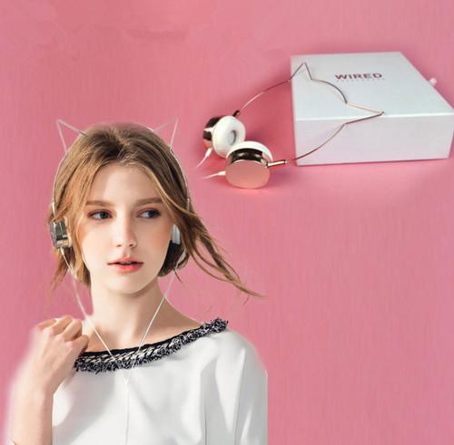 Cute Cat Rose Gold Headphones