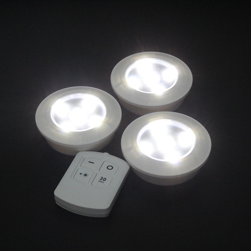 Battery powered LED sportlights with remote (Pack of 3)