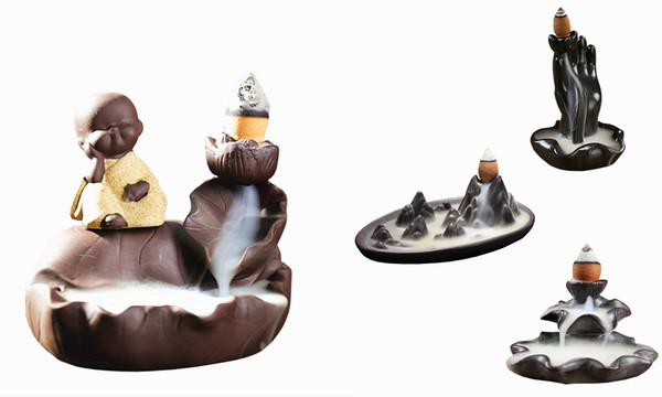 Ceramic aroma backflow incense burner in different design with 50 mixed incenses