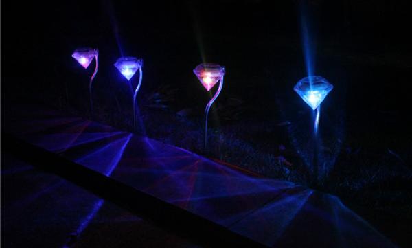 LED Solar diamond light,stainless steel floor lawn garden lamp,colorful decorative light