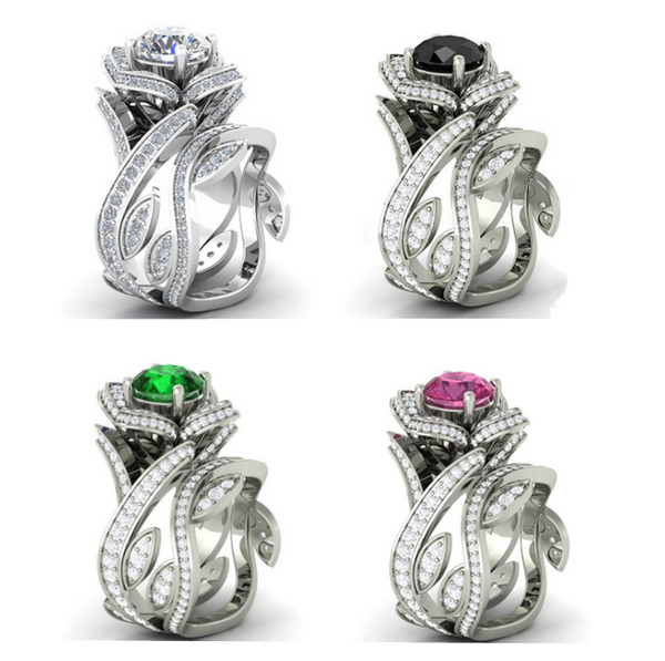 Swarovski Style Rose Ring