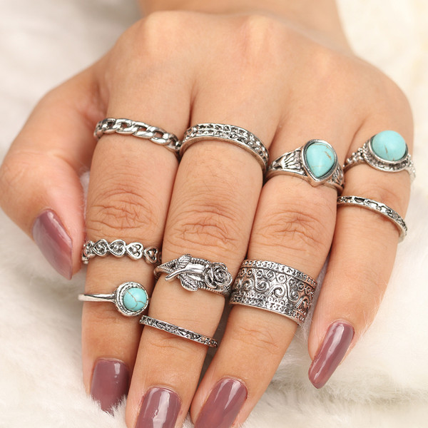 Mixed size joint ring set of 10