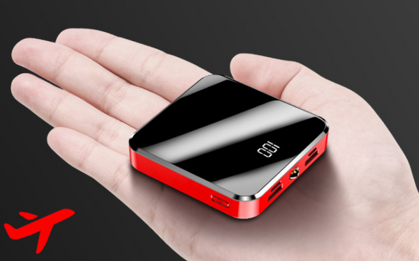 Mini Travel Power Bank with Dual USB and LCD battery level display 10000mAh