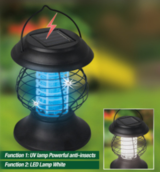2in1 Solar powered LED and UV Insects zapper trap lamp