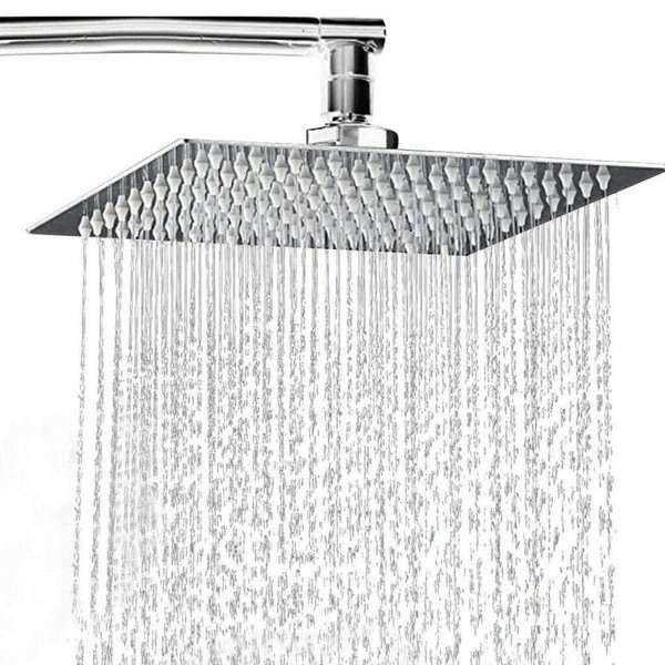 Round or Square Shower Head Chrome Stainless Steel Rainfall Overhead
