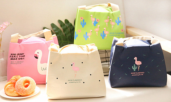 Portable Flamingo Thermal Insulated Lunch Bags