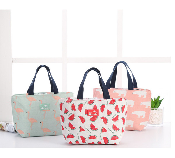 Nature Themed Canvas Thermal Lunch Bags