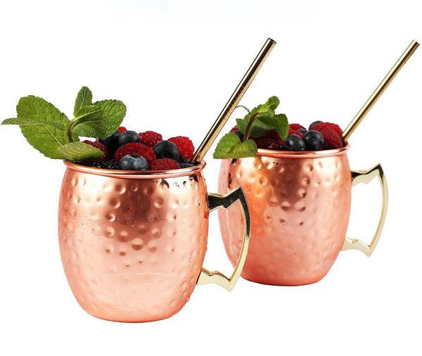 ELLA Moscow Mule Cocktail Glasses & Straw Gift Set