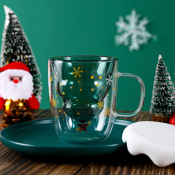 Double Wall Christmas Tree Glass with lid