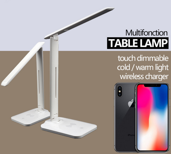 2in1 QI fast wireless charging station and LED desk lamp