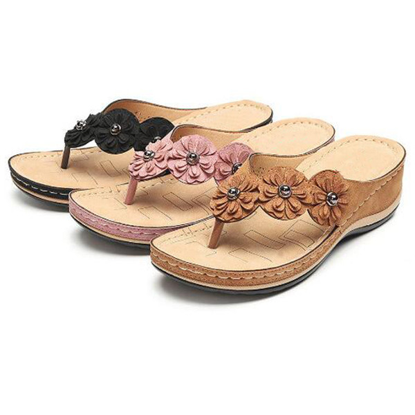 Soft Leather platform Flower Flip Flops