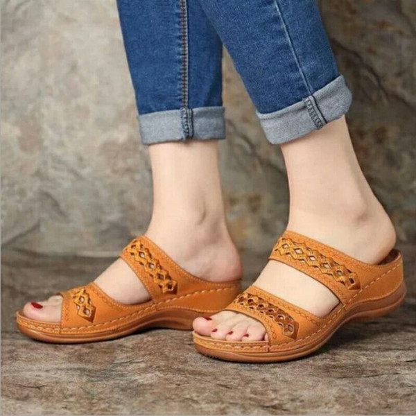 Soft Leather Comfy Double Strap Sandals