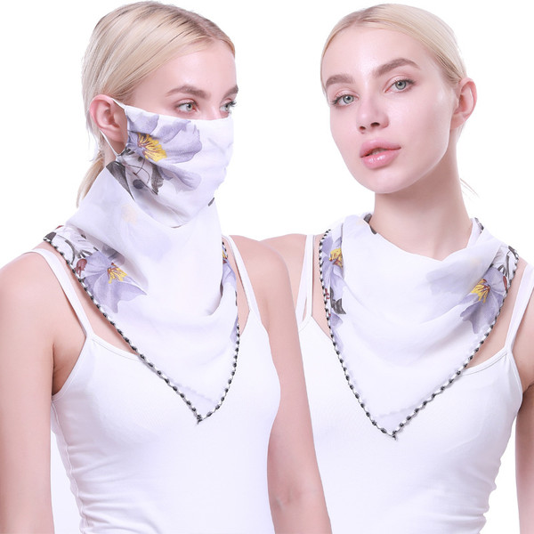 2in1 Light weight flower print Scarf and mask