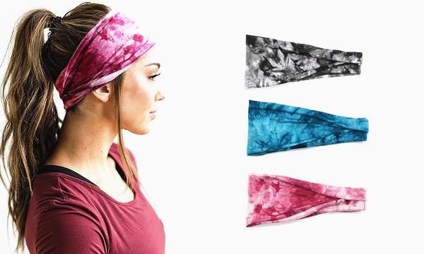 Tie-dye Extra Wide Sports Head Band Set of 2